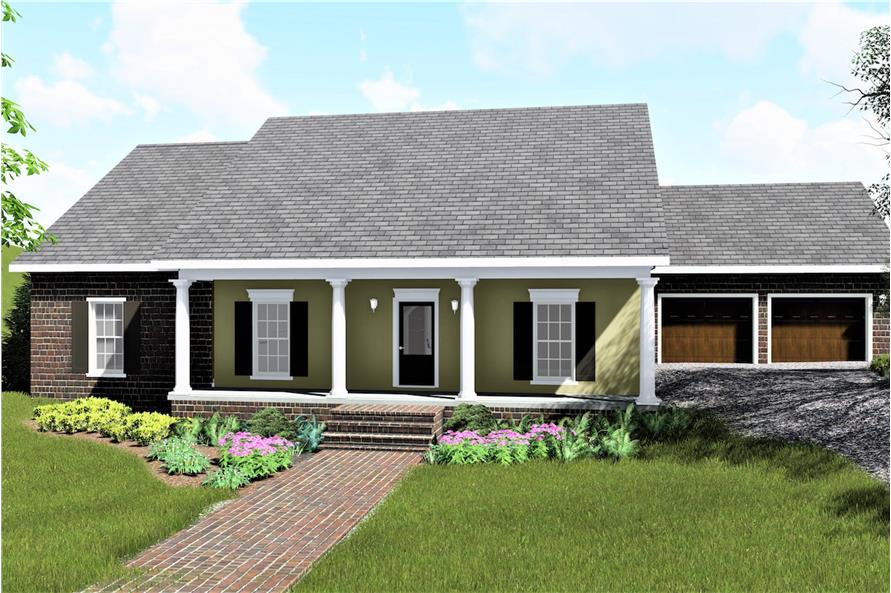 Color rendering of Country home plan (ThePlanCollection: House Plan #123-1078)
