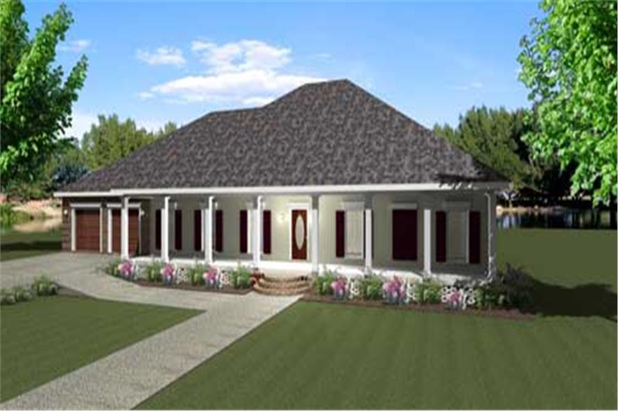 Country House Plans DP-2381 color rendering.