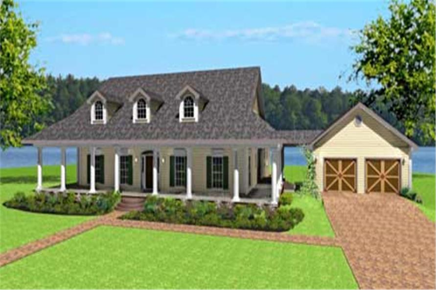 Color front elevation for country house plans 123-1082