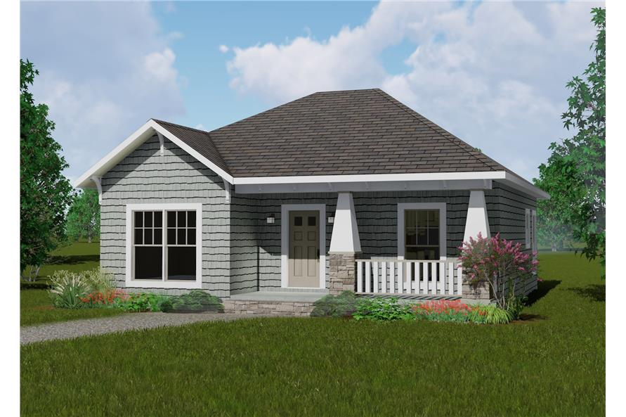 Color rendering of Country home plan (ThePlanCollection: House Plan #123-1083)