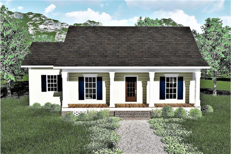Color rendering of Country home plan (ThePlanCollection: House Plan #123-1084)