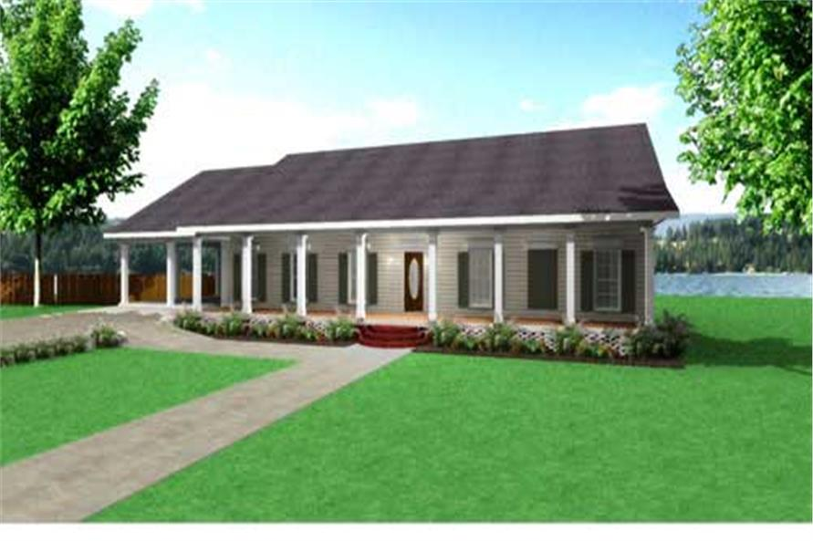 Color rendering of these country house plans.
