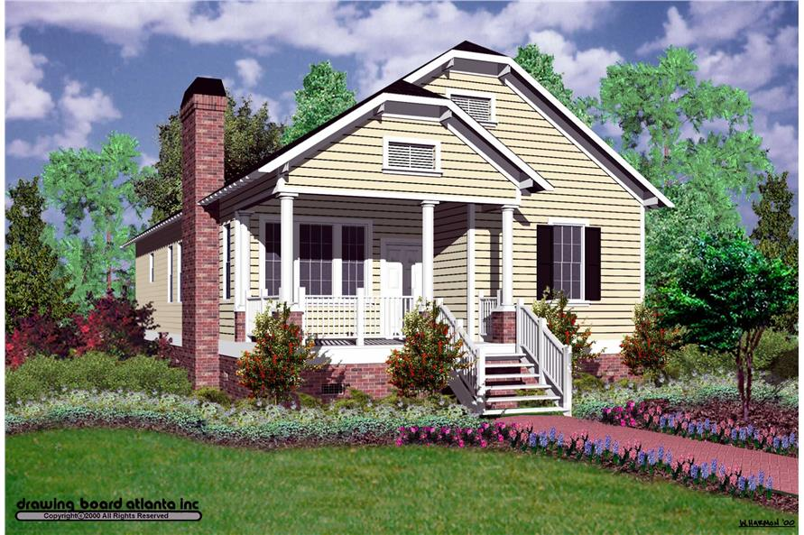 Front elevation of Bungalow home (ThePlanCollection: House Plan #124-1054)