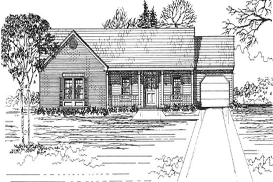 Front elevation of Ranch home (ThePlanCollection: House Plan #124-1112)