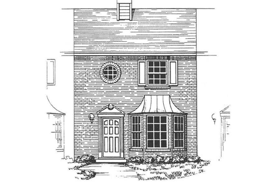 Front elevation of townhouse design for multi-family development (ThePlanCollection: House Plan #124-1145)
