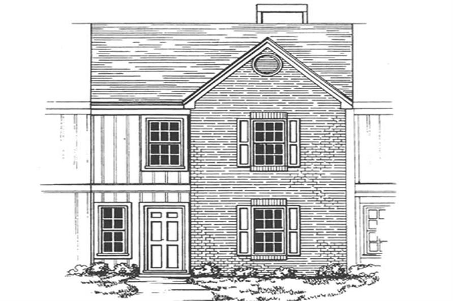 Front elevation of townhouse design in country-craftsman style (ThePlanCollection: House Plan #124-1158)
