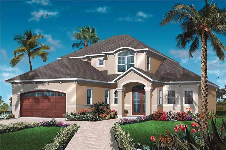 Front elevation of Mediterranean home (ThePlanCollection: House Plan #126-1027)