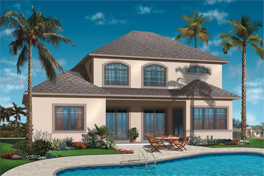 homeplan dd-3616 rear elevation