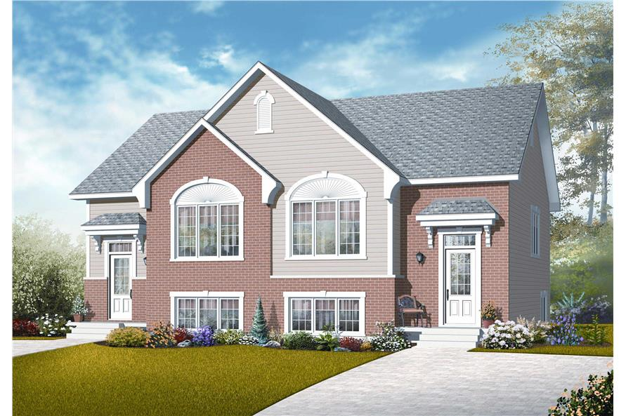 This image shows the front elevation of these Multi-Unit Homeplans.