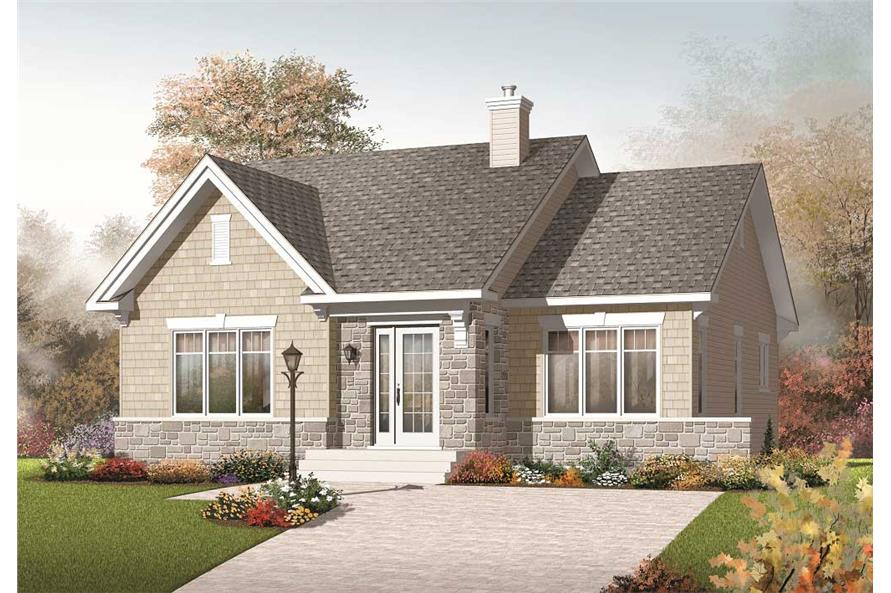 This image shows the front elevation for these Country House Plans.