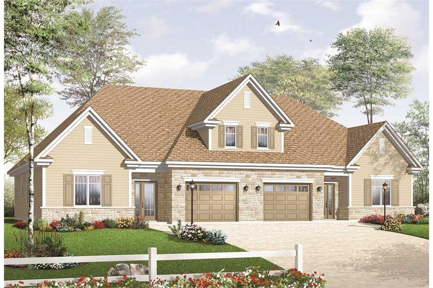 This is the front elevation of these Duplex Houseplans.