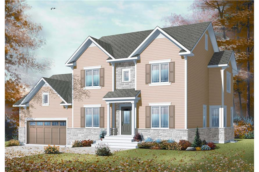 This is a 3-D rendering for these Country House Plans.