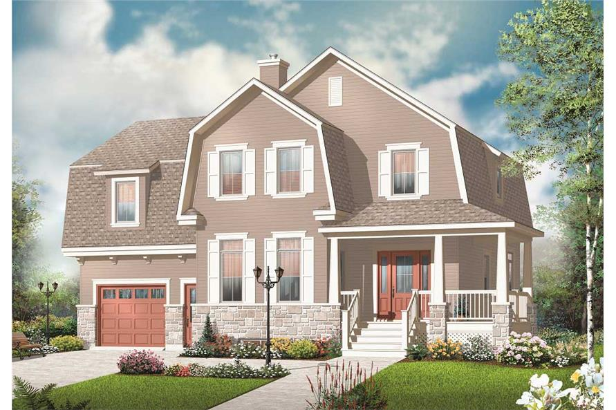 This is a colorful 3D computerized rendering for these uniquely styled House Plans.