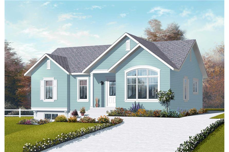 This is the front elevation for these Traditional Country Home Plans.