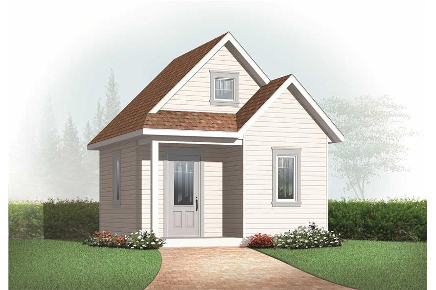 This is a 3D computerized elevation of these Small House Plans.
