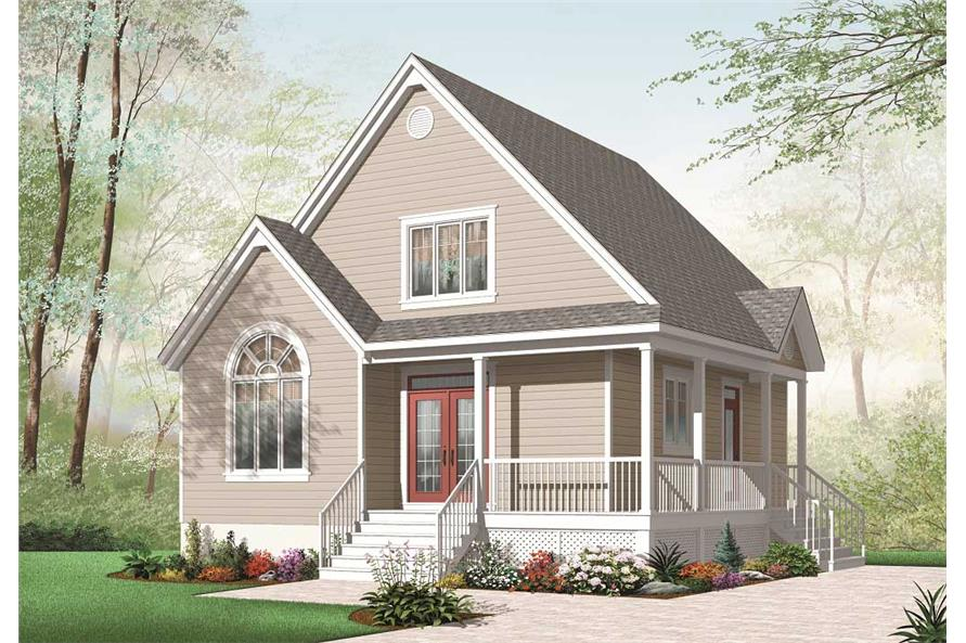 This image shows the front  elevation for these Traditional Home Plans.