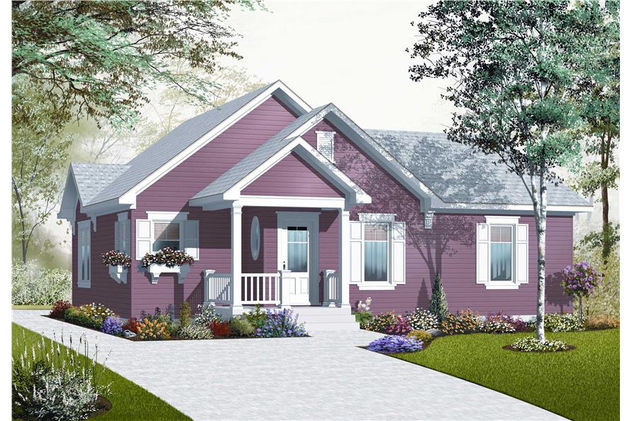 This is the front elevation of these Traditional Country House Plans.
