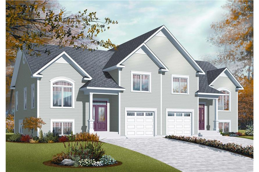 This colorful image shows a computerized three dimensional rendering of the front elevation for these Split-Level Multi-Unit Home Plans.