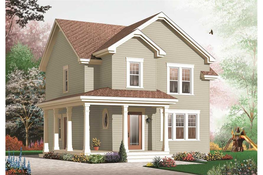This is a computerized 3D rendering of these Traditional Houseplans.