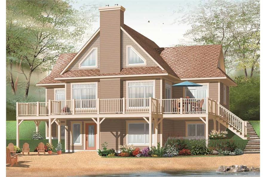 This is a 3d Computer Generated Image showing the front elevation for these Contemporary Craftsman Home Plans.