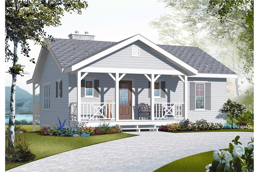 This is a computerized rendering of the front elevation of these Country House Plans.