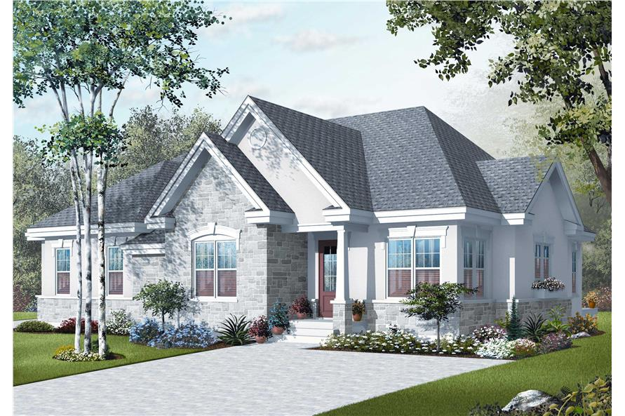 This image shows the front elevation for these Traditional Houseplans.