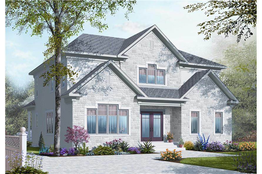 This is a computer generated image showing the front elevation of these Traditional House Plans.