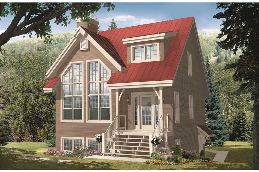 This is the a computerized rendering of these Cottage House Plans.