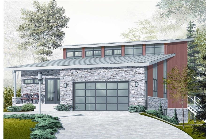 This is the front elevation for these Contemporary Home Plans.