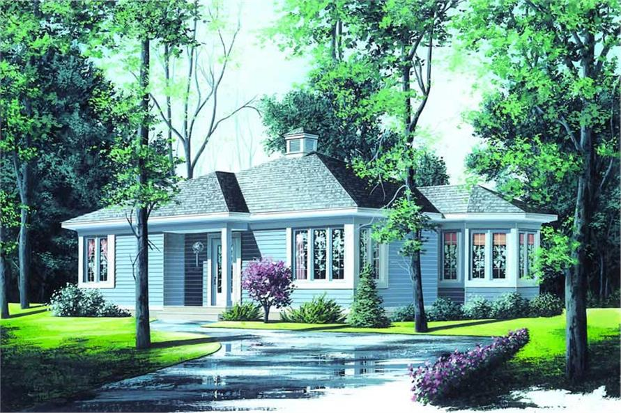 This is a colored elevation of these Contemporary House Plans