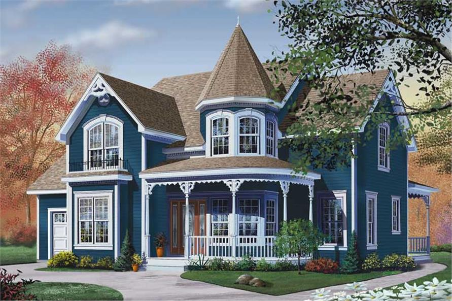 Front elevation of Victorian home plan (ThePlanCollection: House Plan #126-1248)