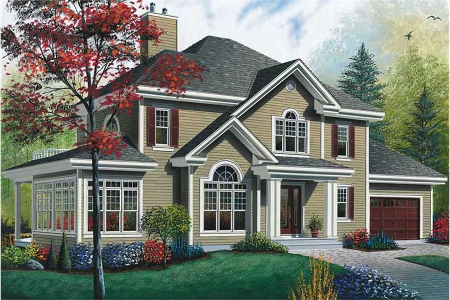 Color rendering of Country home plan (ThePlanCollection: House Plan #126-1457)