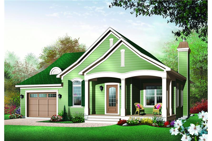 126-1483: Home Plan Rendering-Front Door