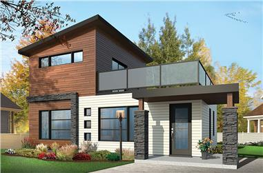 2-Bedroom, 924 Sq Ft Contemporary House Plan - 126-1853 - Front Exterior