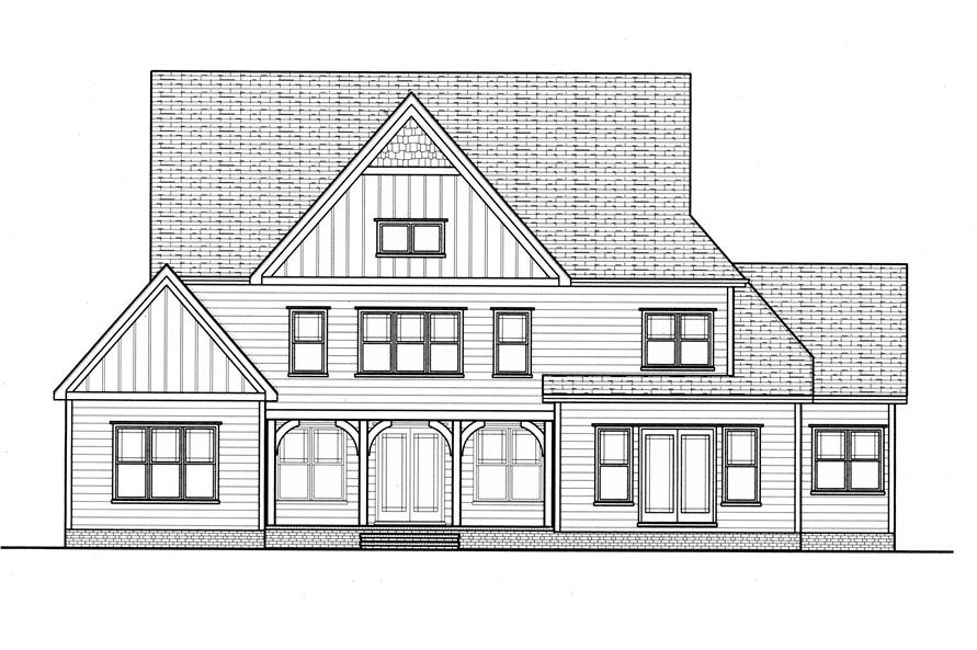Home Plan Rear Elevation for these Craftsman Plans.