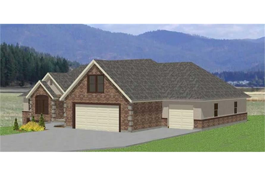129-1007: Home Plan Rear Elevation
