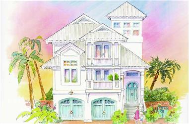 3-Bedroom, 3580 Sq Ft Coastal Home Plan - 130-1063 - Main Exterior