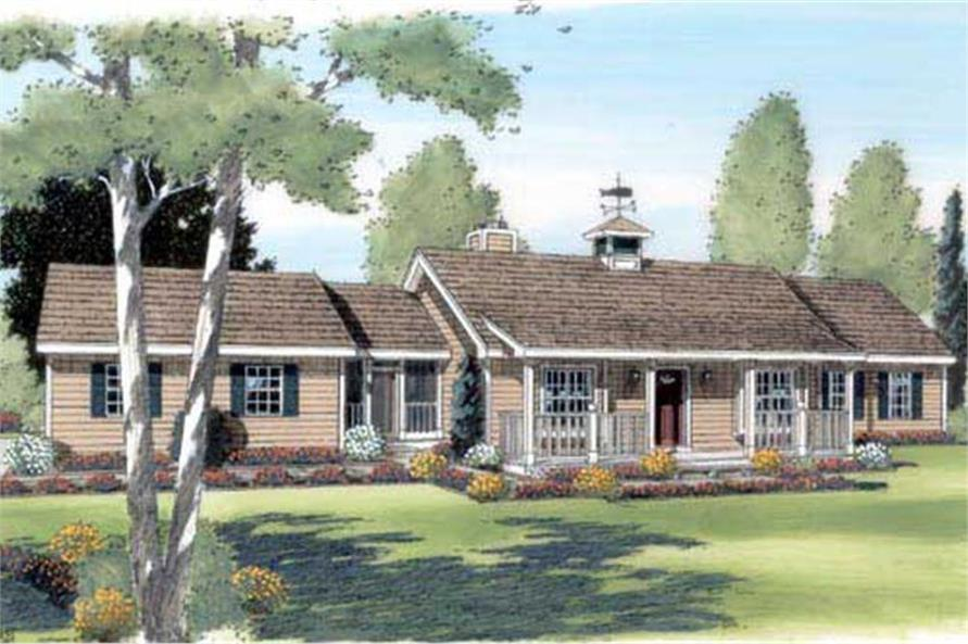 Color rendering of Ranch home plan (ThePlanCollection: House Plan #131-1043)