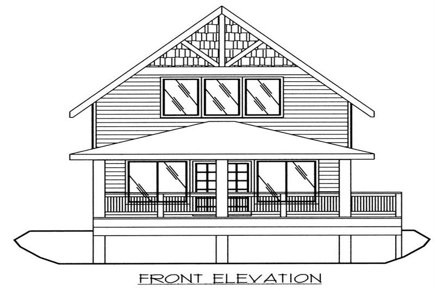 This image shows the front elevation of the home plan.