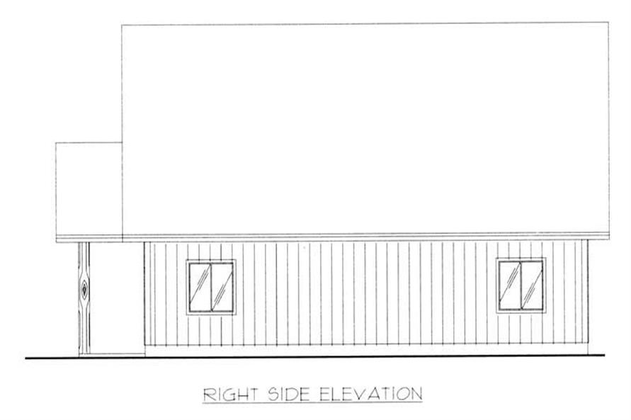 This image shows the right side elevation of the home plan.