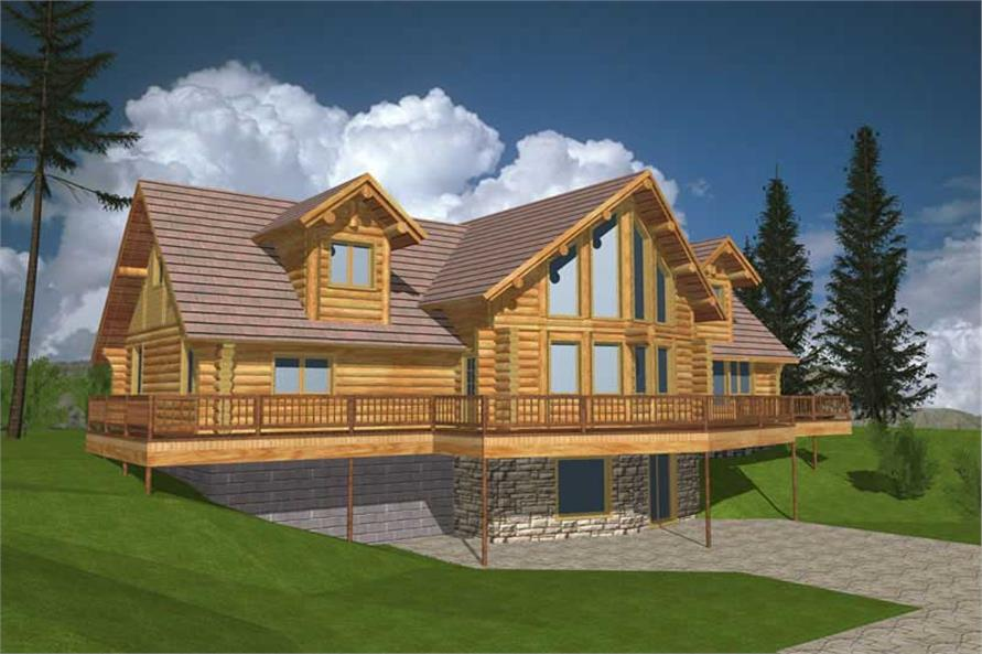 Front elevation of Log Cabin home (ThePlanCollection: House Plan #132-1259)