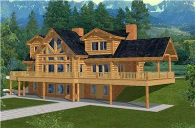 4-Bedroom, 4564 Sq Ft Log Cabin Home Plan - 132-1291 - Main Exterior