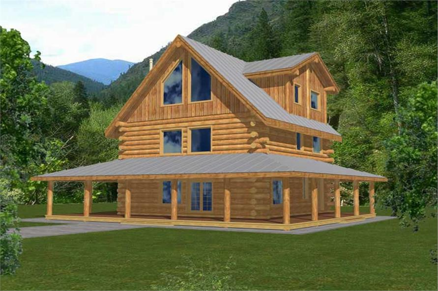 Log Cabin Homes Front Elevation.