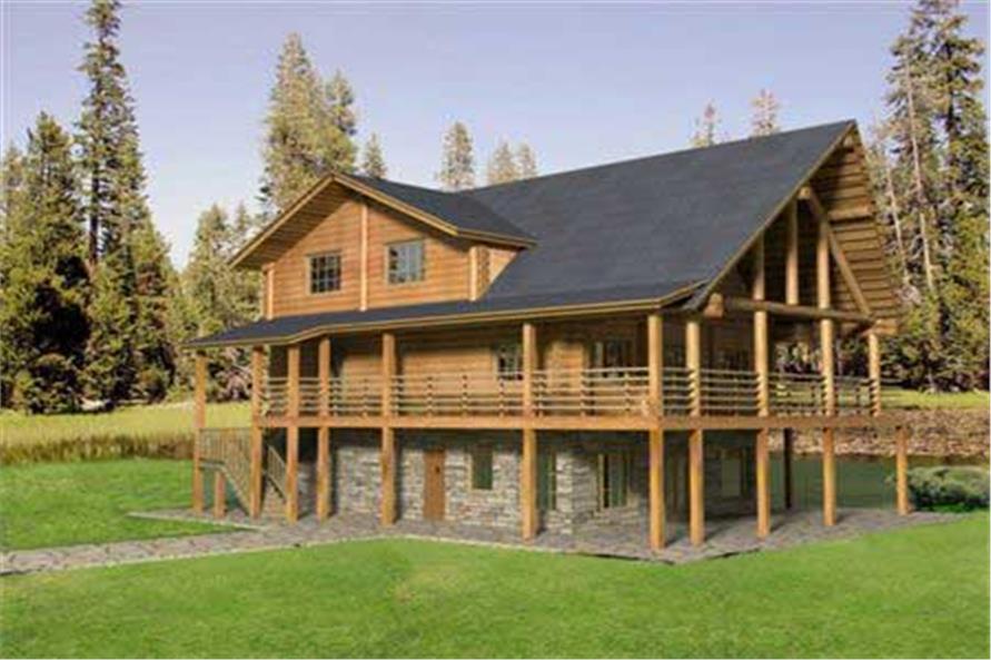 Log Home Plans main elevation.