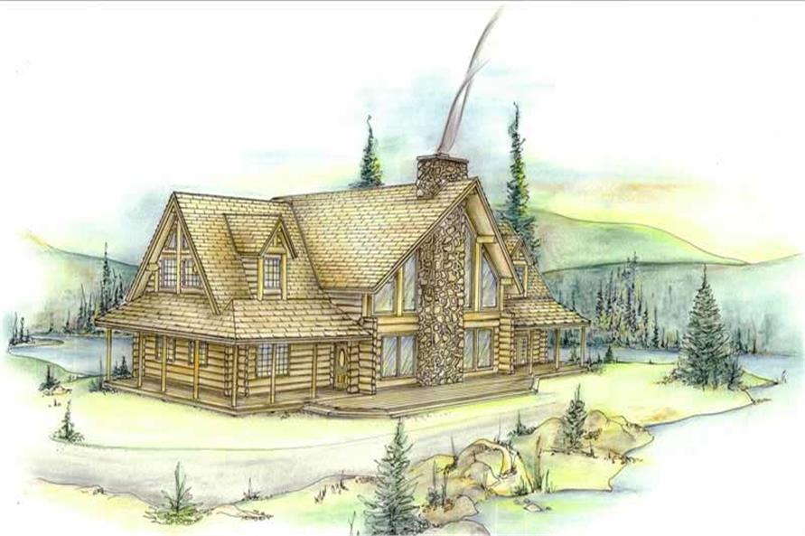Log houseplans front elevation image.