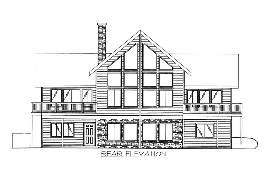 132-1523: Home Plan Rear Elevation