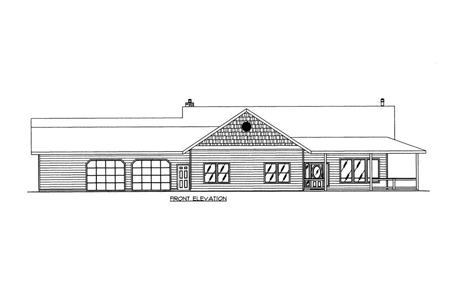 132-1525: Home Plan Front Elevation