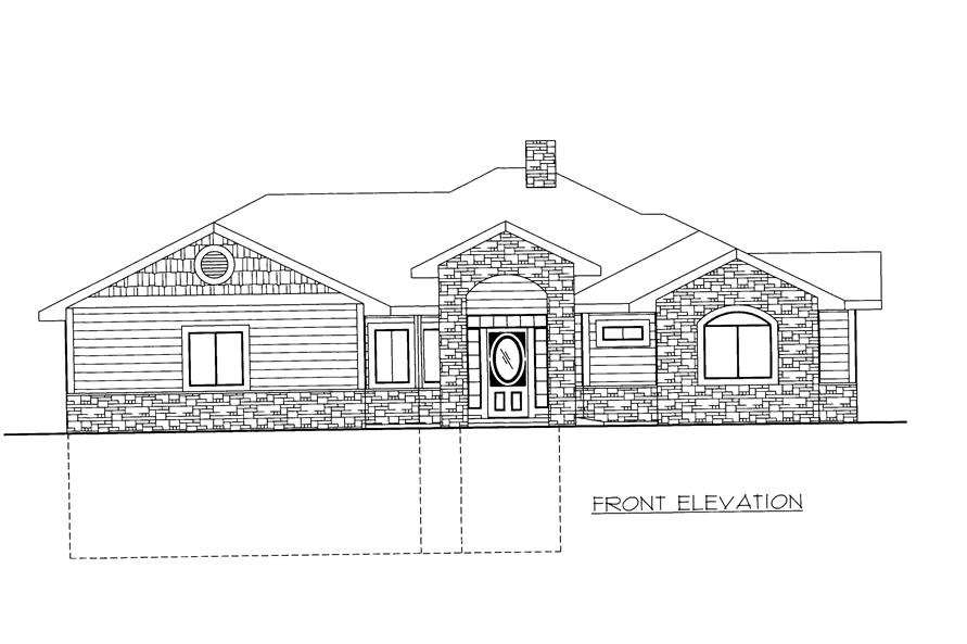 132-1527: Home Plan Front Elevation