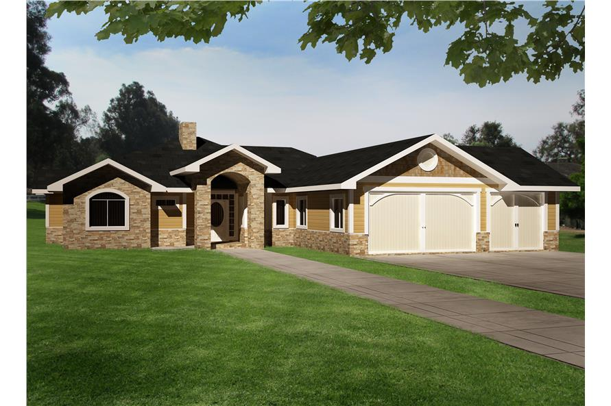 Front elevation of Traditional home (ThePlanCollection: House Plan #132-1529)