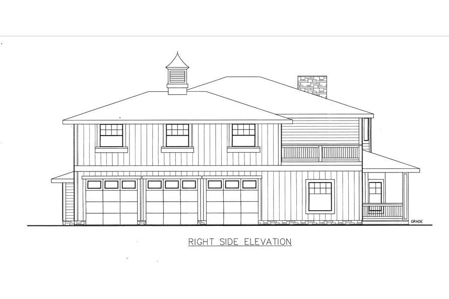 132-1532: Home Plan Right Elevation
